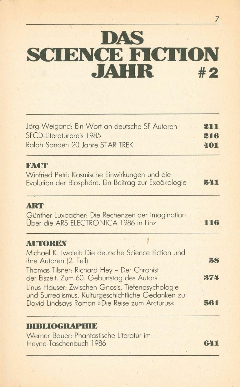 Science Fiction Jahr 1987 - Inhalt Seite 3