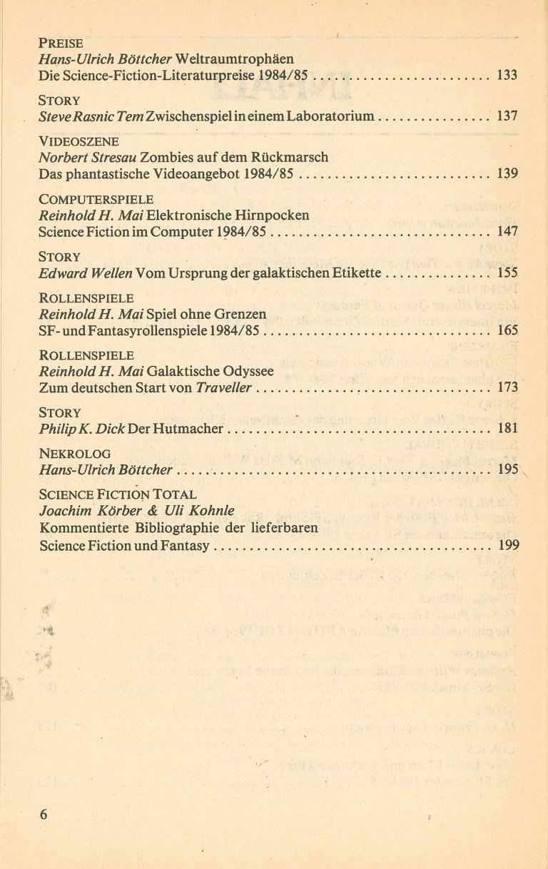 Science Fiction Jahrbuch 1986 - Inhalt Seite 2
