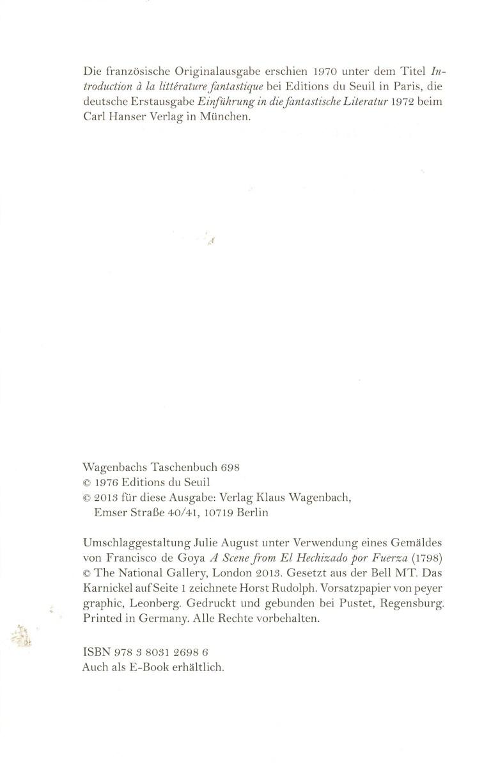 Einführung in die fantastische Literatur, Wagenbach - Impressum