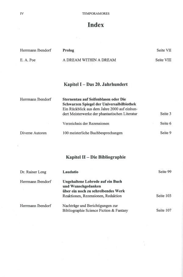 Temporamores, Sonderausgabe 2001 - Inhalt Seite 1