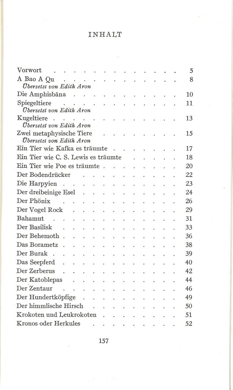 Einhorn, Sphinx und Salamander - Inhalt Seite 1