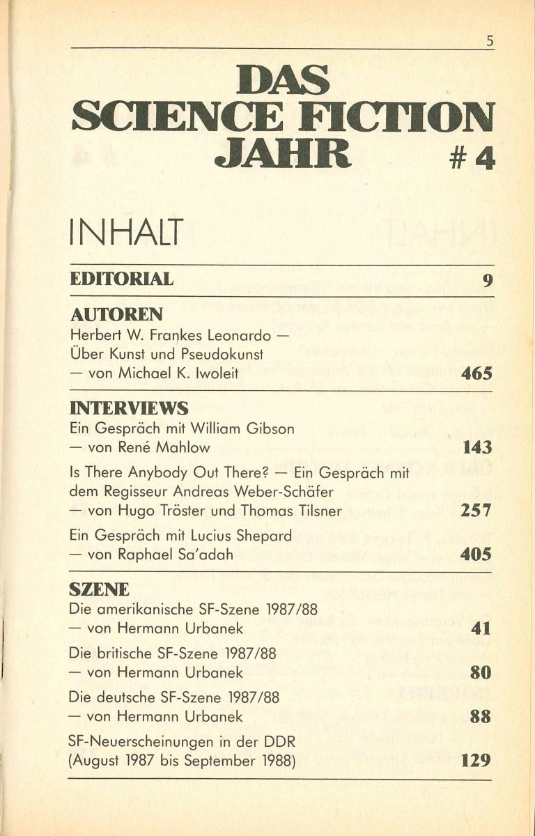 Science Fiction Jahr 1989 - Inhalt Seite 1