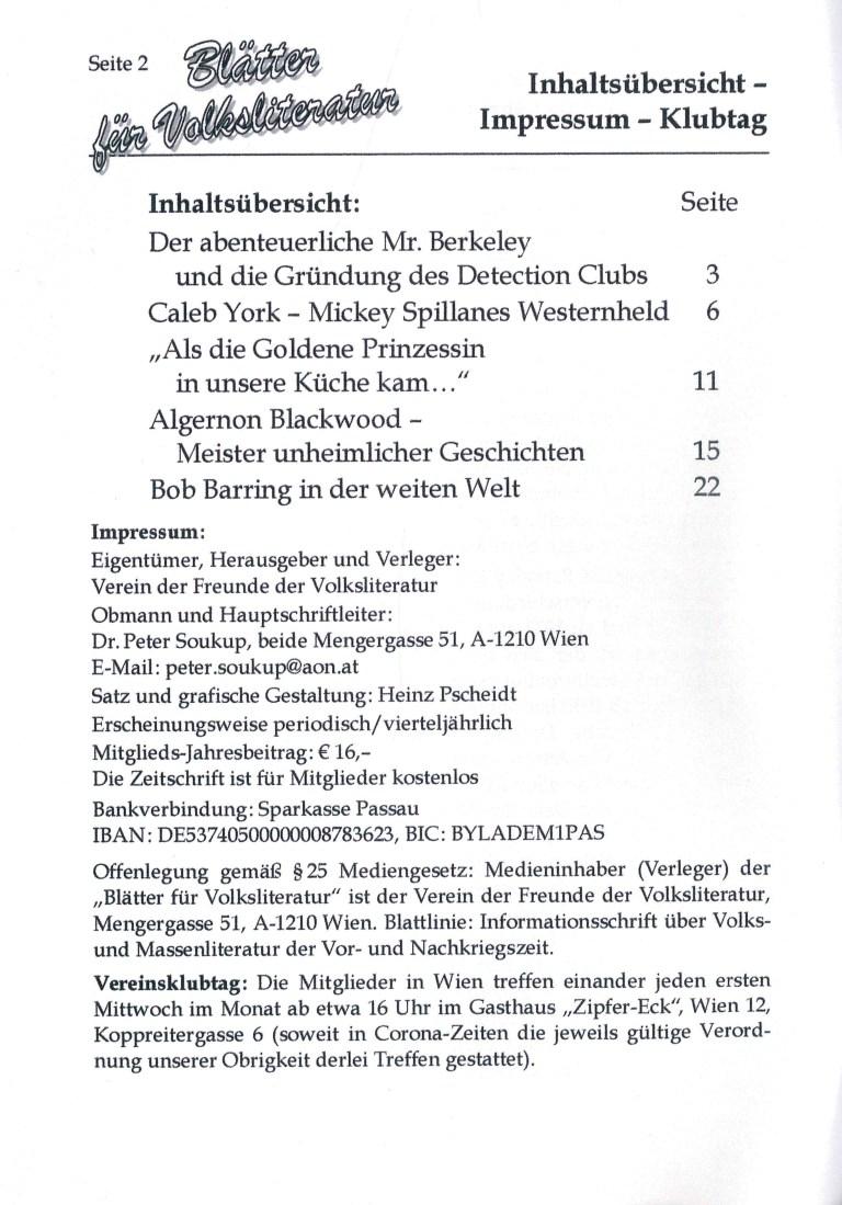 Blätter für Volksliteratur, 2021/2 - Impressum und Inhalt
