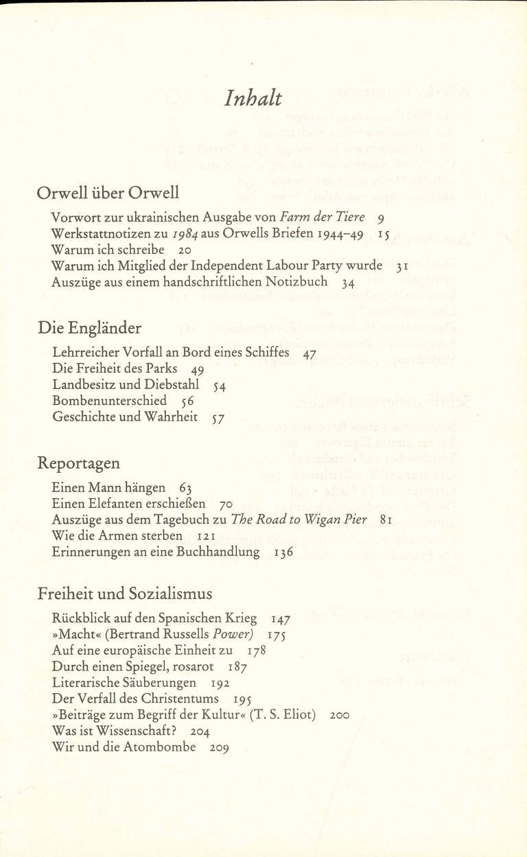 Das George Orwell Lesebuch - Inhalt Seite 1