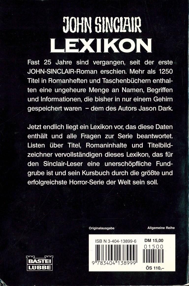 John Sinclair Lexikon - Rückencover