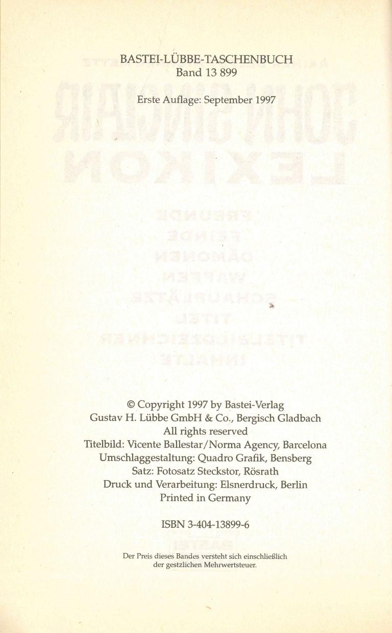 John Sinclair Lexikon - Impressum
