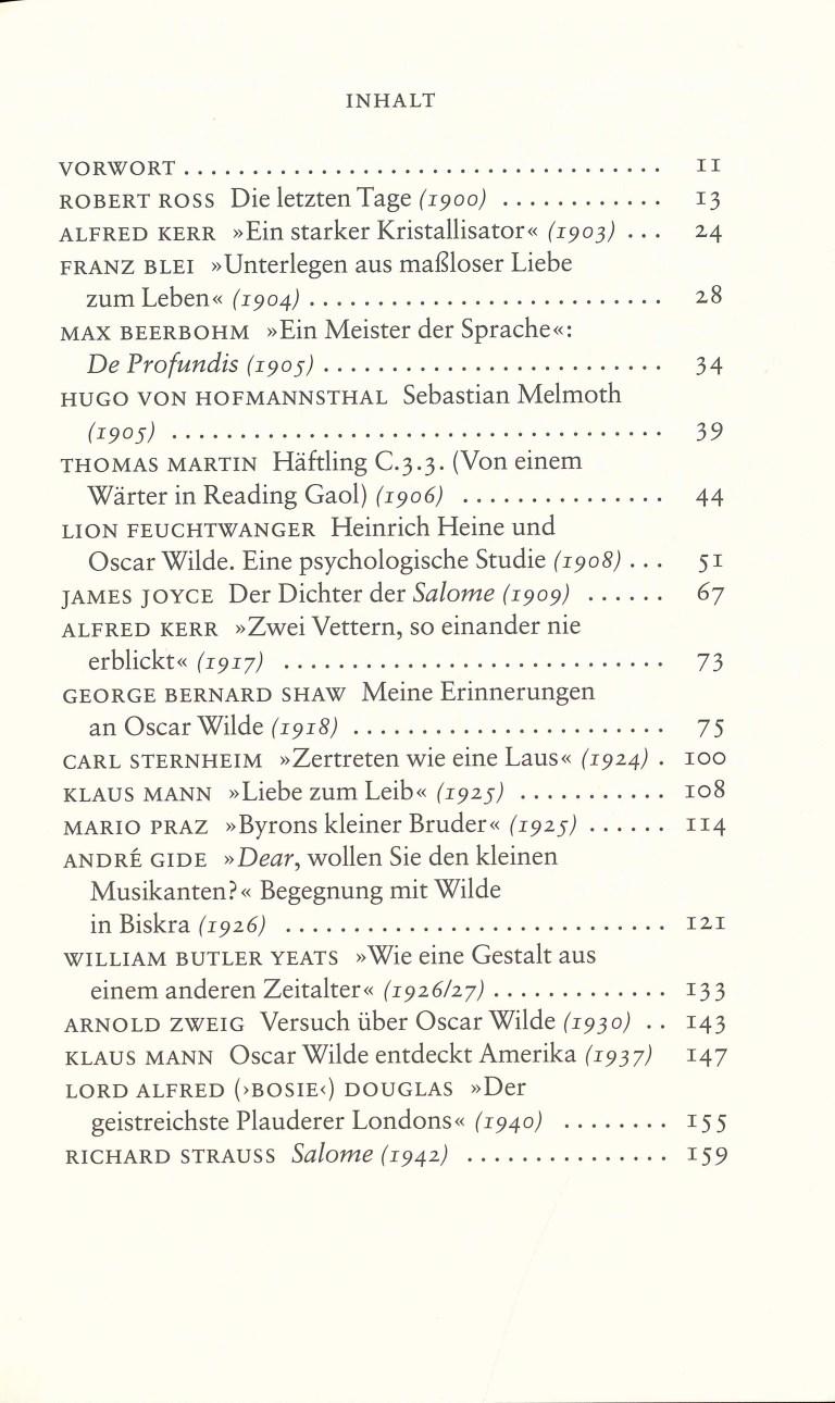 Oskar Wilde im Spiegel des Jahrhunderts - Inhalt Seite 1