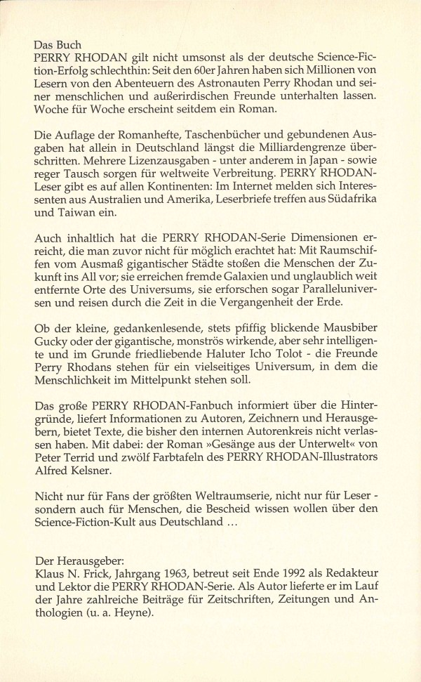 PR Fanbuch - Inhaltsbeschreibung