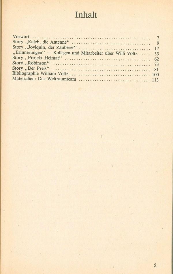 William Voltz Gedächtnisband - Inhalt