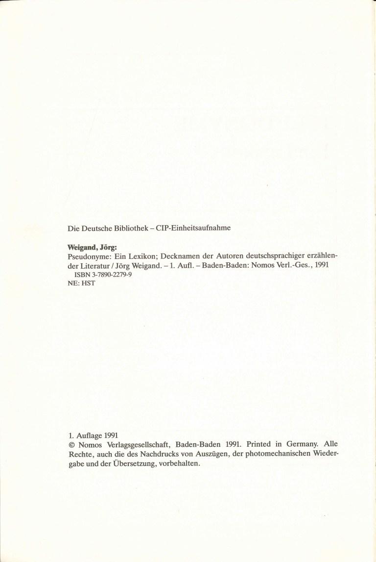 Pseudonyme, 1. Aufl. - Impressum