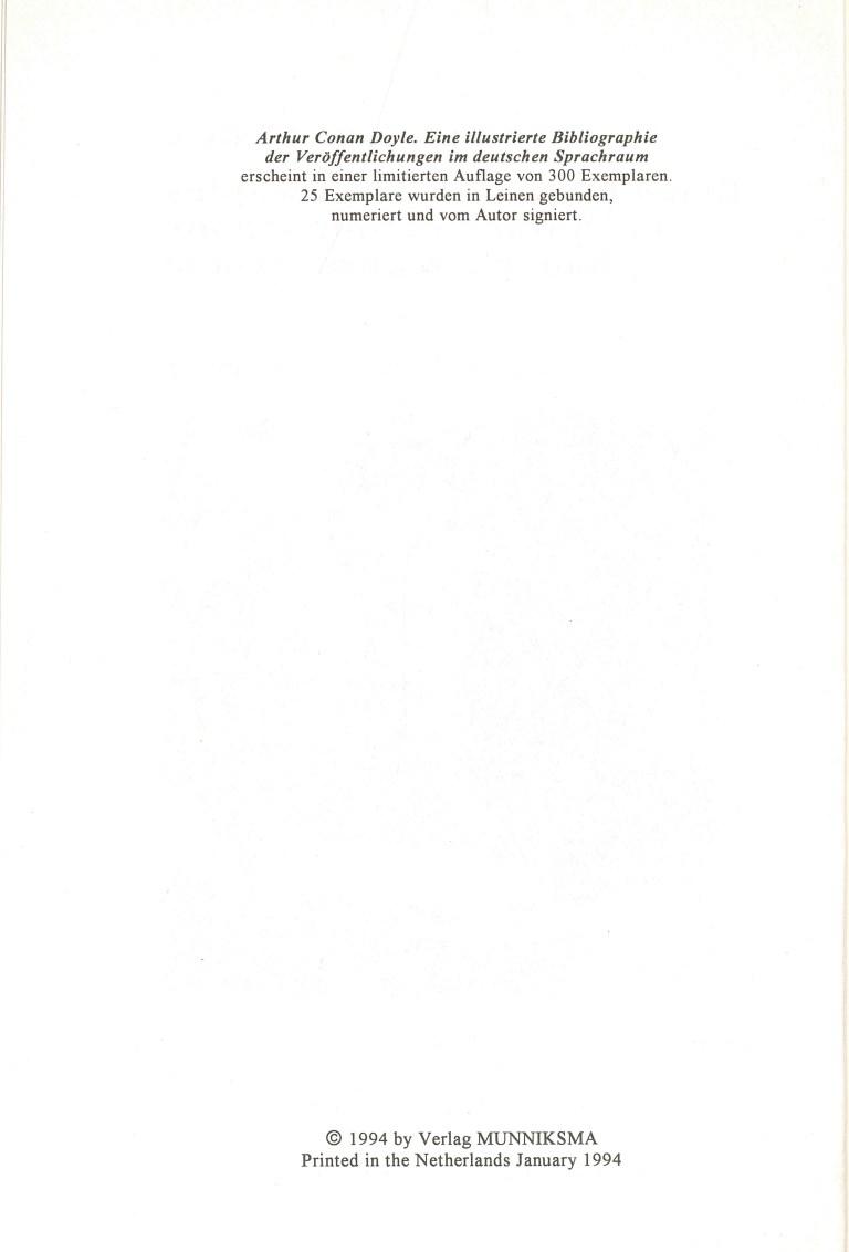 Arthur Conen Doyle-Eine illustrierte Bibliographie - Impressum