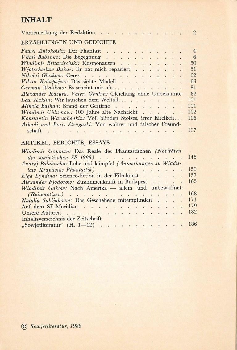Sowjetliteratur, 1988/12 - Inhalt
