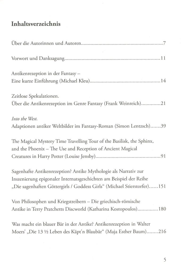 Antikenrezeption in der Fantasy - Inhalt Seite 1