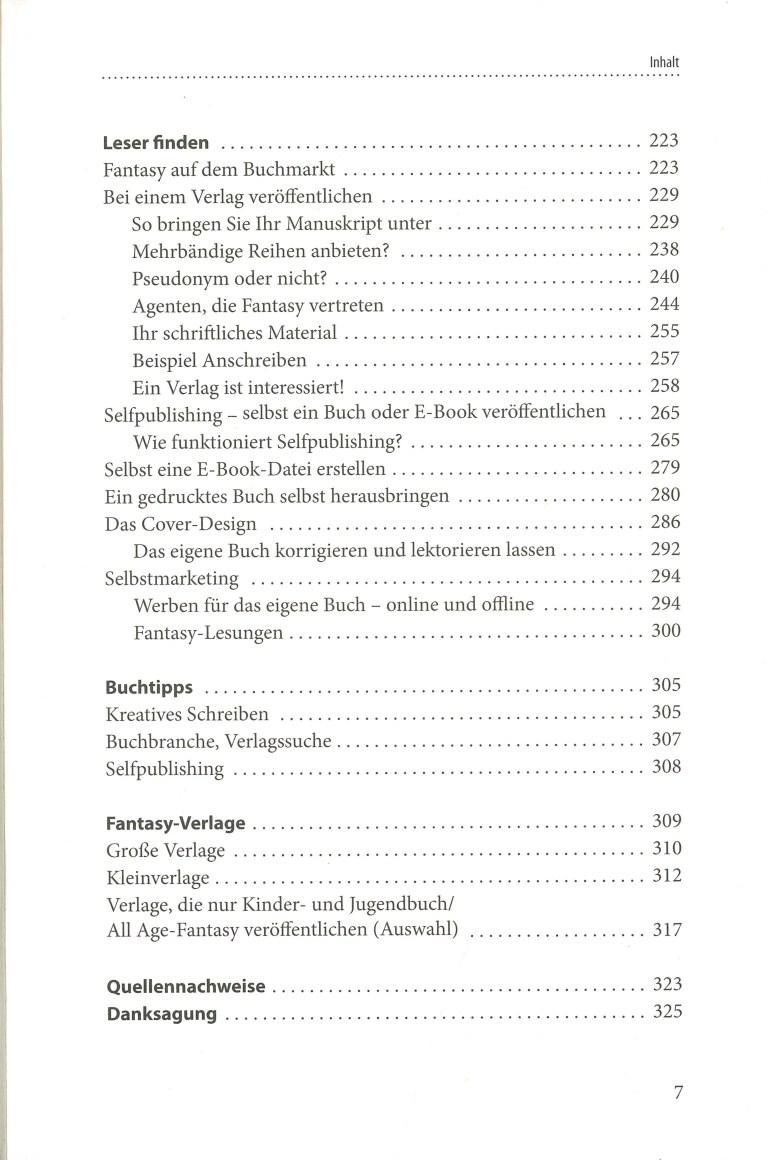 Fantasy schreiben & veröffentlichen - Inhalt Seite 3
