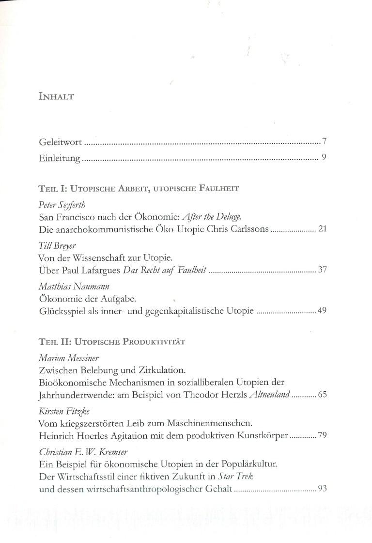 Ökonomische Utopien - Inhalt Seite 1
