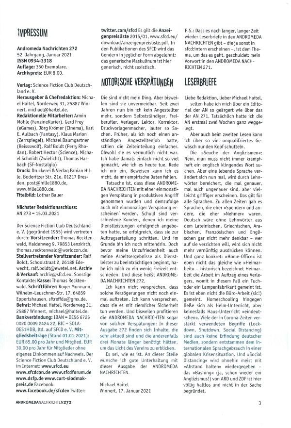 Andromeda Nachrichten Nr. 272 - Impressum