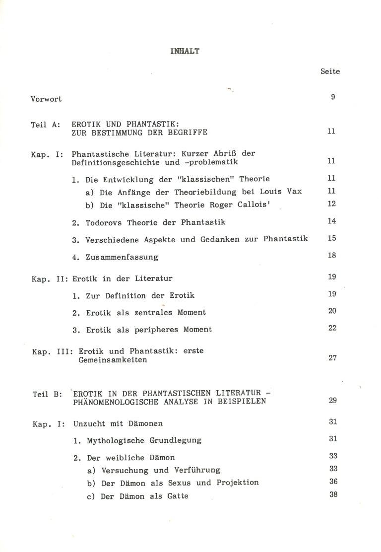 Erotik in der phantastischen Literatur - Inhalt Seite 1