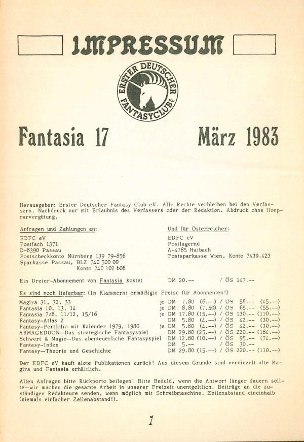 Fantasia, Nr. 17 - Impressum