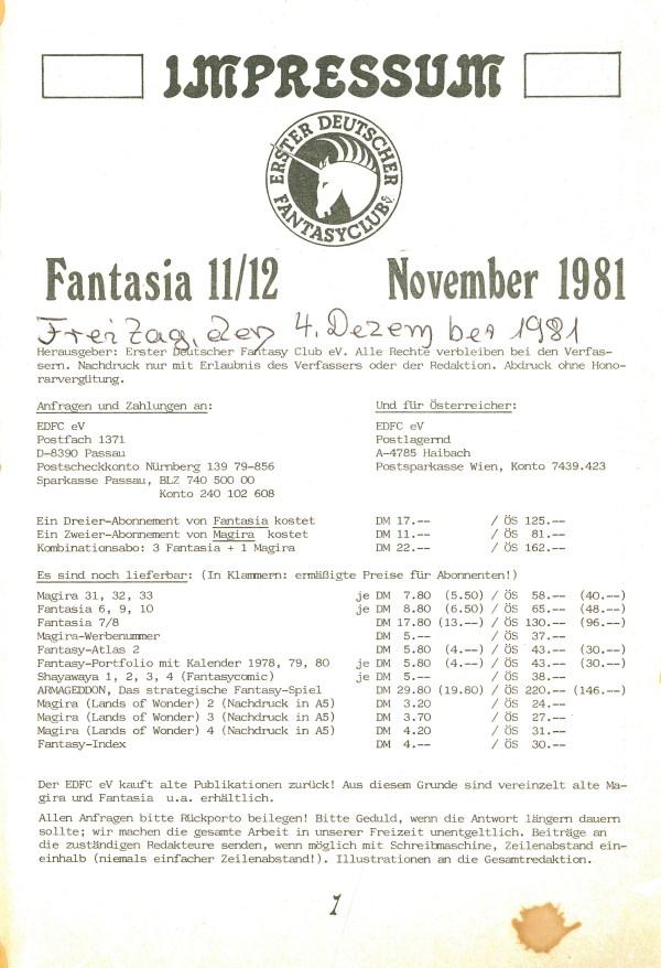 Fantasia, NR. 11/12 - Impressum