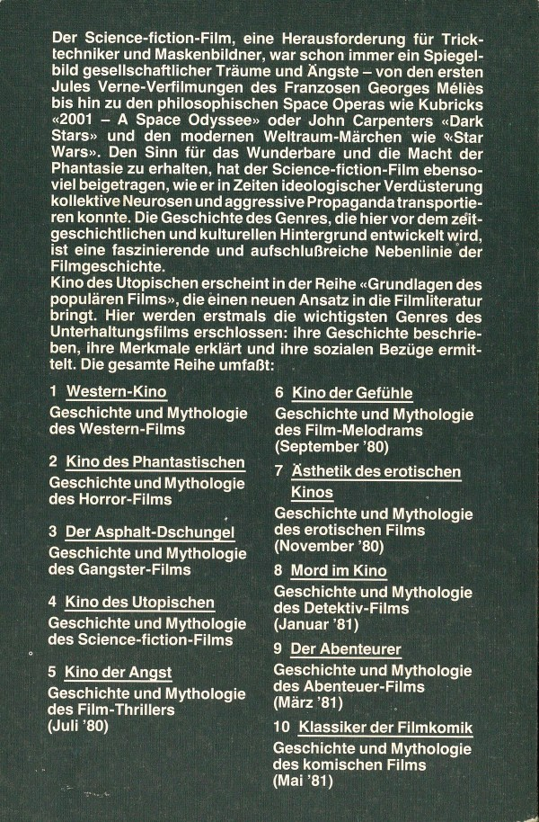 Kino des Utopischen - Rückencover