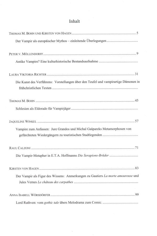Mythos Vampir-bissige Lektüren - Inhalt Seite 1