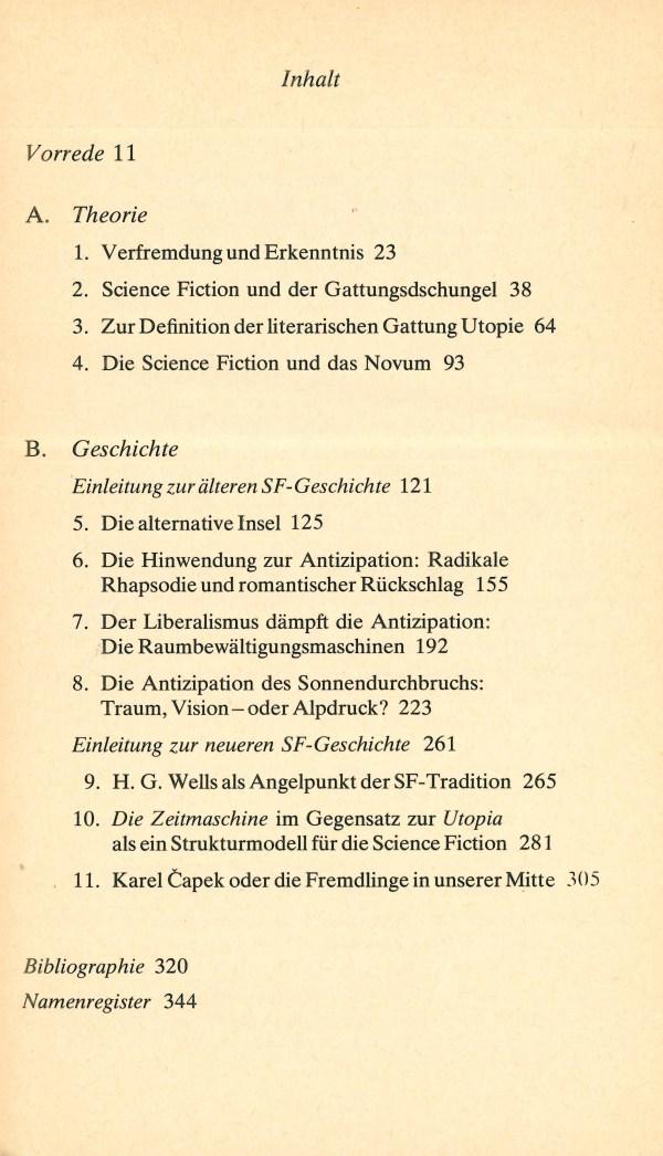 Poetik der Science Fiction - Inhalt