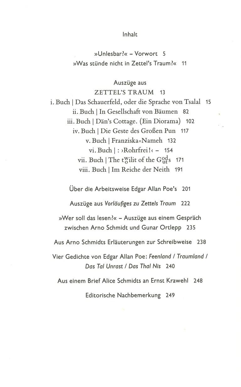 Arno Schmidts Zettel'S Traum - Inhalt