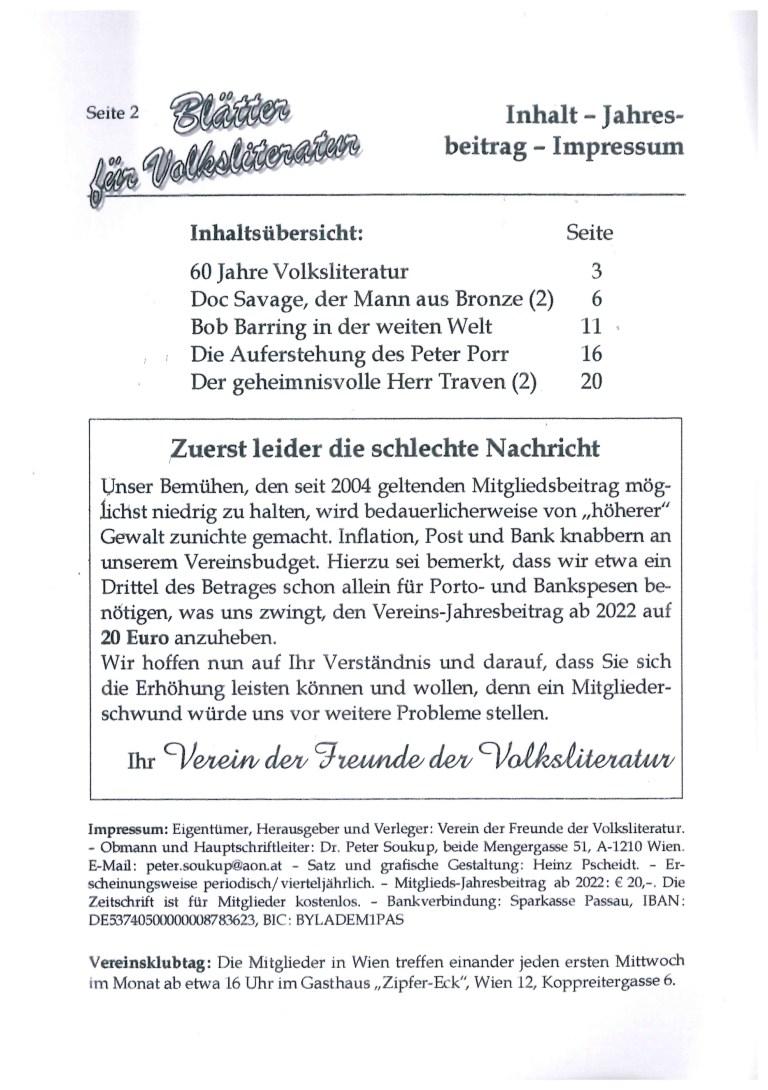 Blätter für Volksliteratur, Nr. 4, Oktober 2021 - Impressum und Inhalt