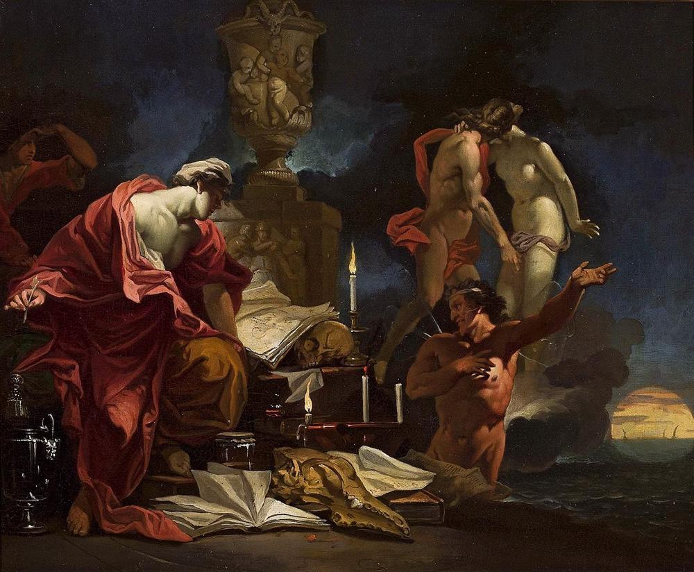 Domenicus van Wijnen, Astrologer observing the Equinox and a scene of parting Adonis and Venus, Public Domain