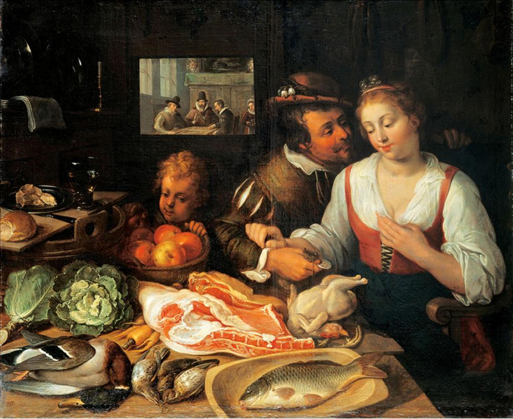 Jeremias van Winghe, Kitchen Scene, Public Domain