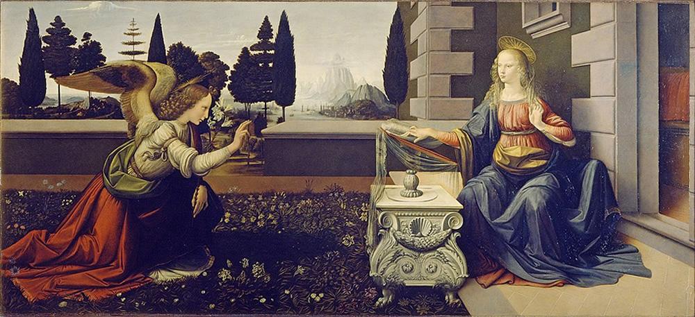 Leonardo da Vinci, The Annunciation, Public Domain