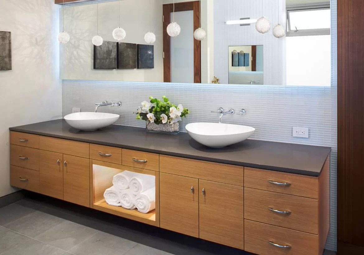 from a floating vanity to a vessel sink