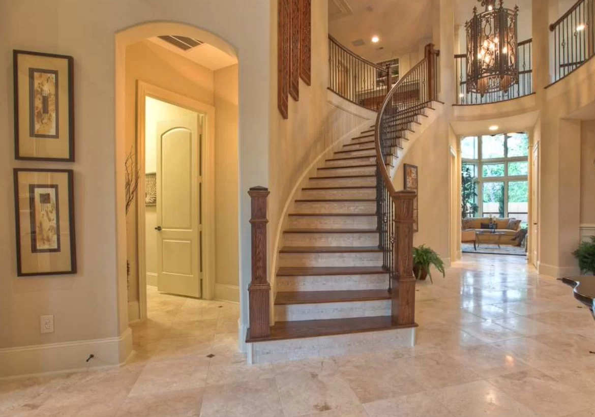 95 Ingenious Stairway Design Ideas For Your Staircase Remodel | Wood Stairs With Tile Risers | Color Scheme | Creative | Stair Outdoors | Grey | Tile Residential