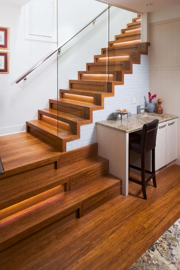 95 Ingenious Stairway Design Ideas For Your Staircase Remodel   Wooden Stairs With Lights   Light Gray   Motion Sensor   Side   Glass   Backyard Wood