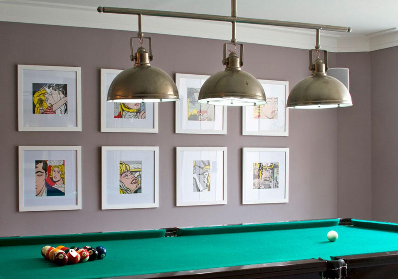 pool billiard table ceiling lights