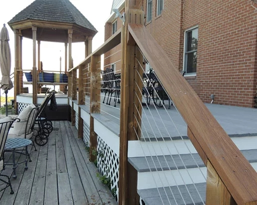 35 Unique Deck Railing Ideas Sebring Design Build | Diy Deck Stair Railing | Easy | Outdoor | Aircraft Cable | House | Simple
