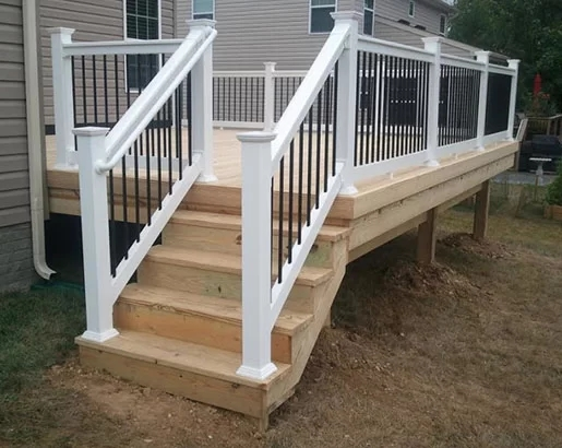 35 Unique Deck Railing Ideas Sebring Design Build   Outdoor Wood Stair Railing   Child   Stair Inside   Staircase   Natural Wood   Build In