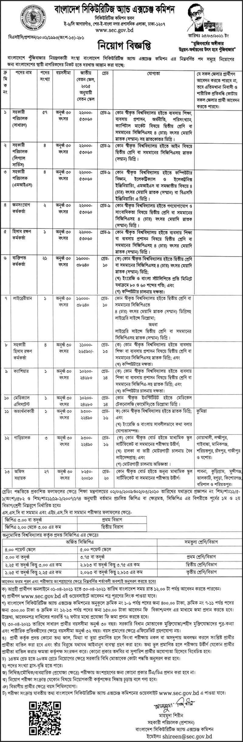 Bangladesh Securities and Exchange Commission SEC Job Circular 2021