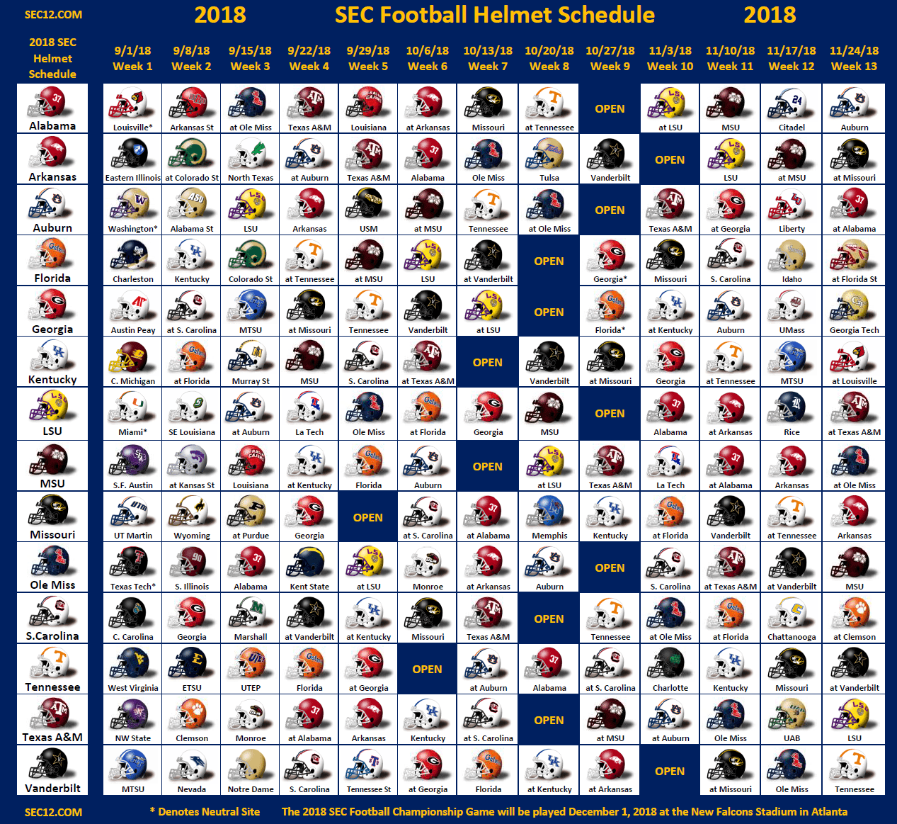 2018 SEC Football Helmet Schedule SEC Football
