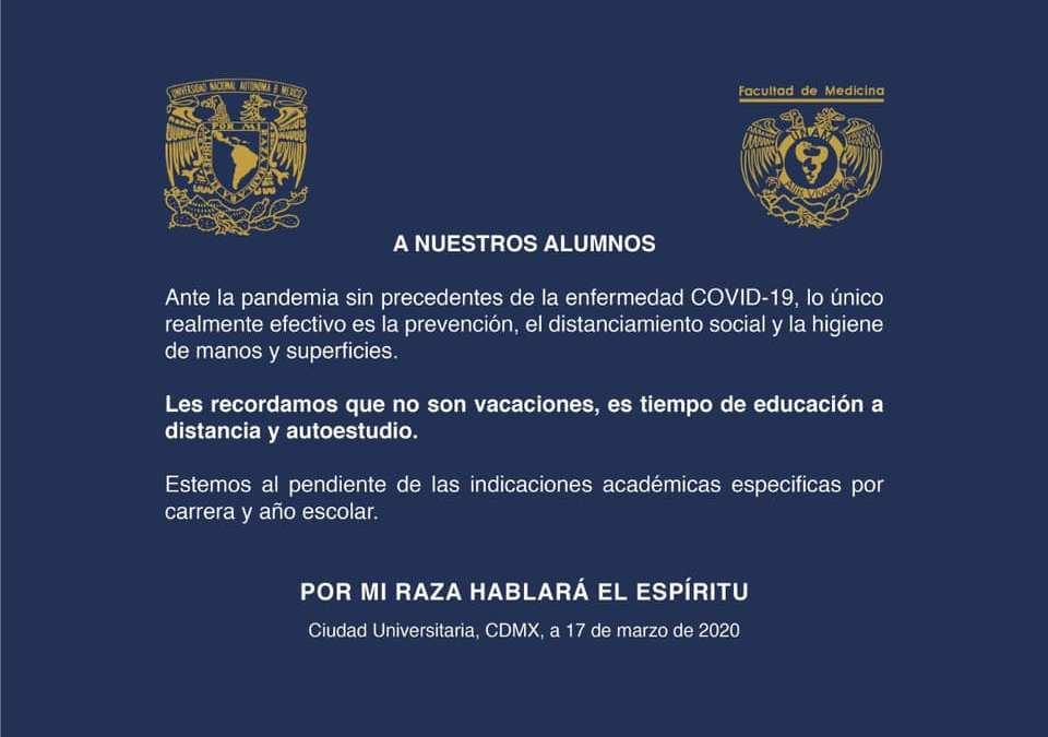 Comunicado a nuestros alumnos de la Facultad de Medicina UNAM (17-3-2020)