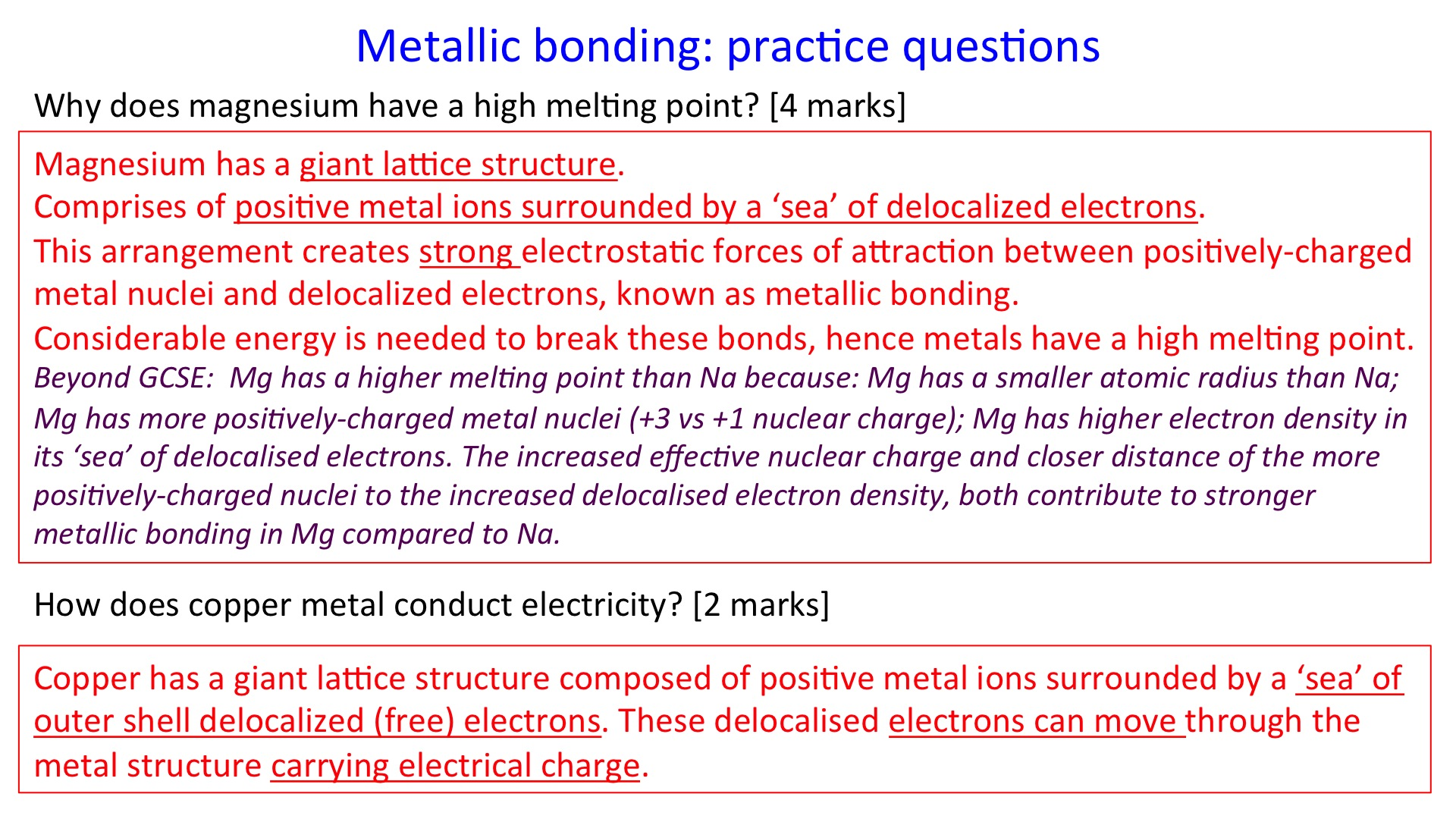 Metallic Structure And Bonding