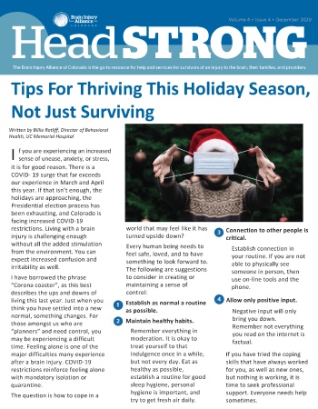 Craig J. Phillips, Brain Injury Alliance of Colorado HeadSTRONG December 2020 Publication