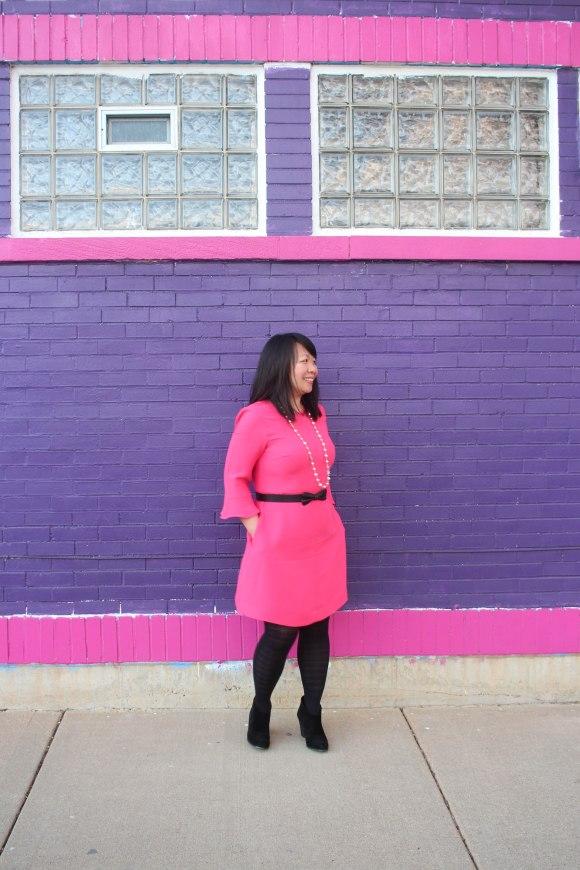 BR Pink Flutter Sleeve Dress4