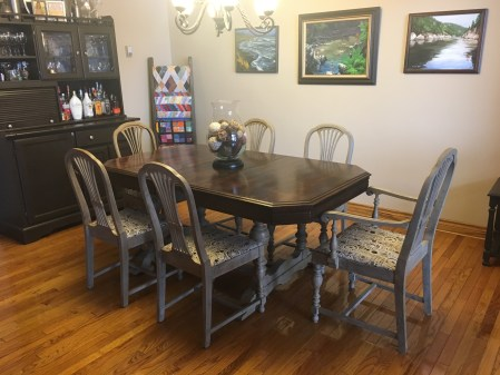 Refinished dining set - painted and reupholstered