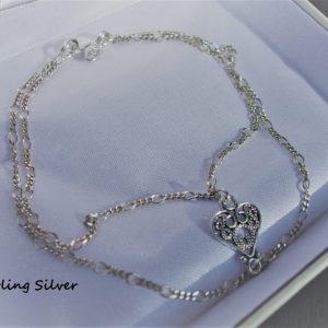 BC023SS $45 Sterling Silver dble chain heart charm