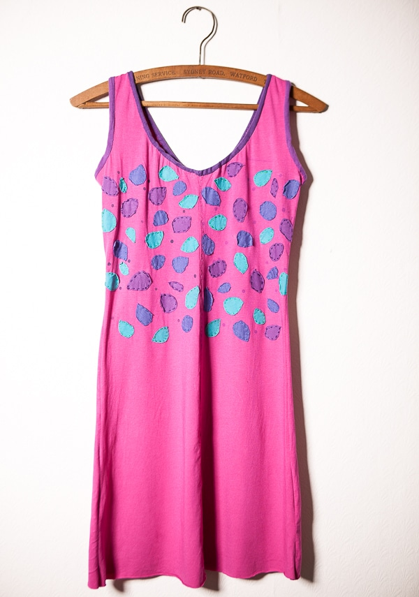 Hand stitched dress with appliqué
