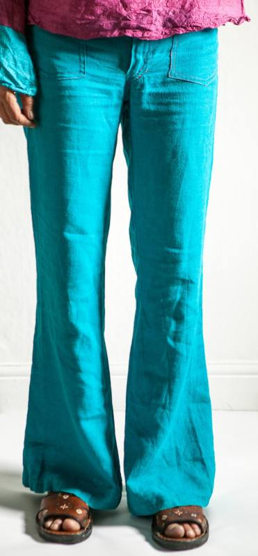 Blue linen summer pants