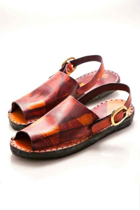 Batik leather sandals