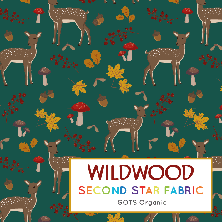 Deer jersey fabric. Animal, toadstool themed organic cotton lycra jersey fabric