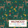 Deer jersey fabric. Animal, toadstool themed organic cotton lycra jersey fabric
